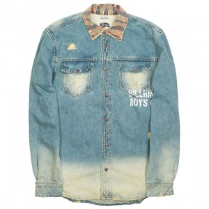 Billionaire Boys Club Men BB Orbiter LS Woven Shirt (blue / denim)