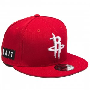 BAIT x NBA X New Era 9Fifty Houston Rockets Scarlet Snapback Cap (red)