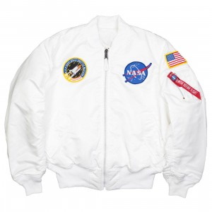 Alpha Industries Men NASA MA-1 Flight Jacket (white)