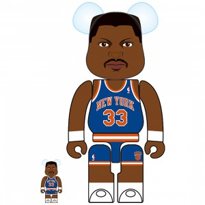 PREORDER - Medicom NBA New York Knicks Patrick Ewing 100% 400% Bearbrick Figure (blue)