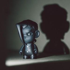 BAIT Exclusive Kidrobot Street Fighter Shadow Charlie 3 Inch Figure (black)