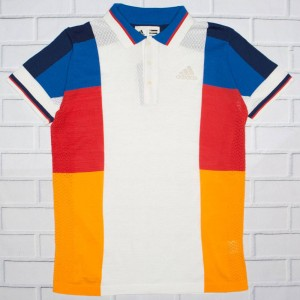 Adidas x Pharrell Williams Men NY Colorblock Polo Shirt (white / chalk white / clear brown / blue)
