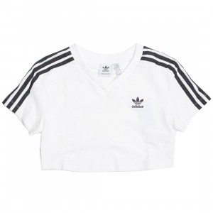 Adidas Women V-Neck Cropped Tee (white)