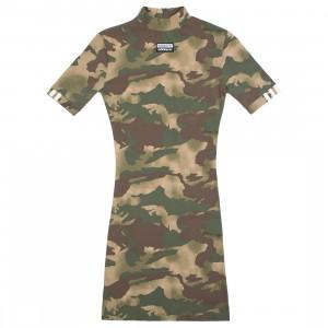 Adidas Women Allover Print Tee Dress (green / hemp / earth green / base green / cargo brown)
