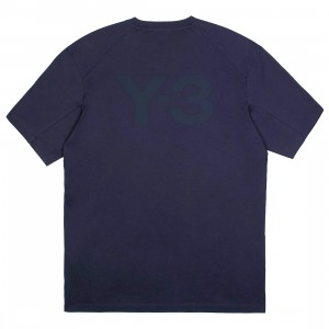 Adidas Y-3 Men Classic Back Logo Tee (blue / legend ink)
