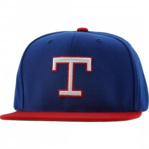American Needle Texas Rangers Replica Wool Snapback Cap (royal / red)