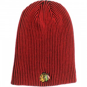 American Needle Chicago Blackhawks Team Switch Knit Beanie (black / red)