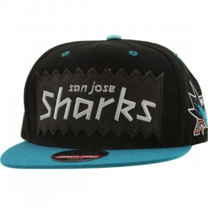 BAIT x NHL x American Needle San Jose Sharks NHL Retro Snapback Cap (black / turquoise)