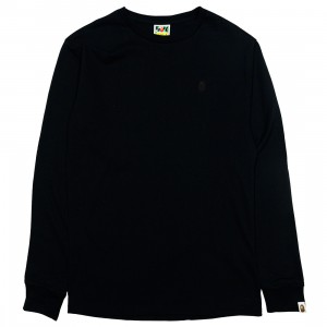 A Bathing Ape Men Ape Head One Point Long Sleeve Tee (black)