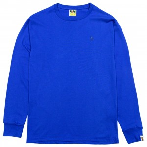 A Bathing Ape Men Ape Head One Point Long Sleeve Tee (blue)