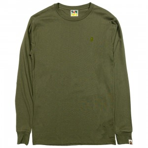A Bathing Ape Men Ape Head One Point Long Sleeve Tee (olive / olive drab)