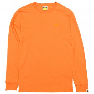 A Bathing Ape Men Ape Head One Point Long Sleeve Tee (orange)