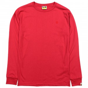 A Bathing Ape Men Ape Head One Point Long Sleeve Tee (red)