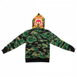A Bathing Ape Men Tiger Camo Tiger Full Zip Hoodie (green)