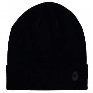 A Bathing Ape Ape Head One Point Knit Cap (black)