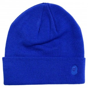 A Bathing Ape Ape Head One Point Knit Cap (blue)