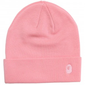 A Bathing Ape Ape Head One Point Knit Cap (pink)