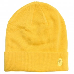 A Bathing Ape Ape Head One Point Knit Cap (yellow)