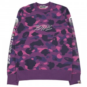 A Bathing Ape Men Color Camo Bape Crewneck (purple)