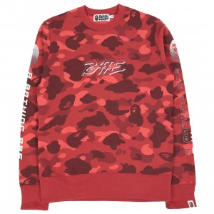 A Bathing Ape Men Color Camo Bape Crewneck (red)