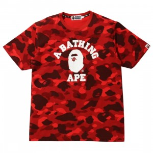 A Bathing Ape Men Color Camo College Tee (red)