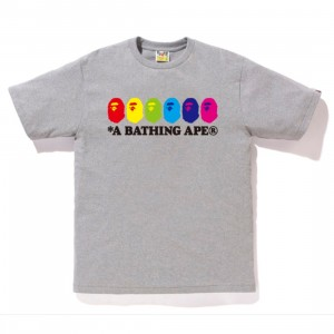 A Bathing Ape Men Color Ape Heads Tee (gray)
