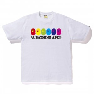 A Bathing Ape Men Color Ape Heads Tee (white)