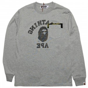A Bathing Ape Men Reverse College Long Sleeve Tee (gray)