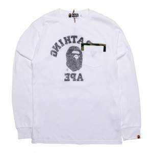 A Bathing Ape Men Reverse College Long Sleeve Tee (white)
