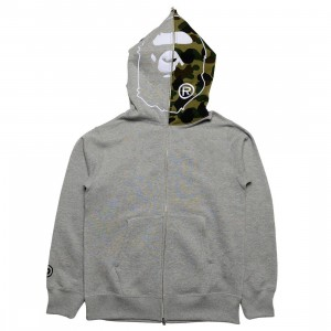 A Bathing Ape Men 1st Camo 2nd Ape Full Zip Hoodie (gray)