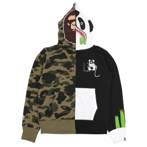 A Bathing Ape Men 1st Camo Ape Panda Half Full Zip Hoodie (green)