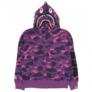 A Bathing Ape Men Color Camo Detachable Shark Full Zip Hoodie (purple)