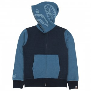 A Bathing Ape Men Indigo Tiger Shark Full Zip Hoodie (navy / indigo)