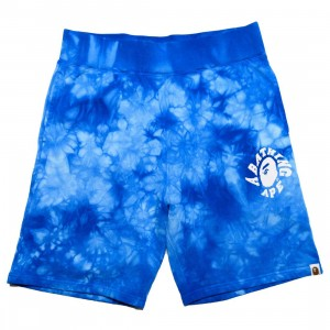 A Bathing Ape Men Tie Dye Sweat Shorts (blue)