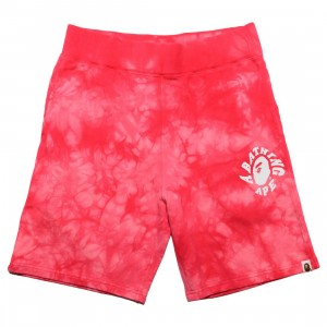 A Bathing Ape Men Tie Dye Sweat Shorts (red)