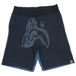 A Bathing Ape Men Indigo Tiger Shark Sweat Shorts (navy / indigo)