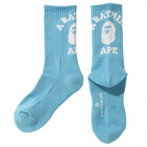 A Bathing Ape Men College Socks (blue / sax)
