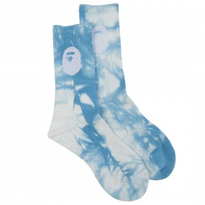 A Bathing Ape Men Ape Head Tie Dye Socks (blue)