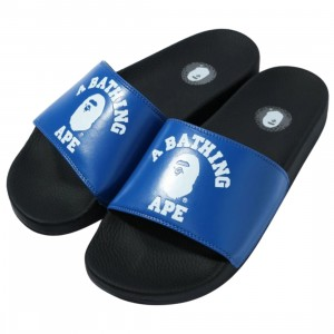A Bathing Ape Men College Slide Sandals (blue)
