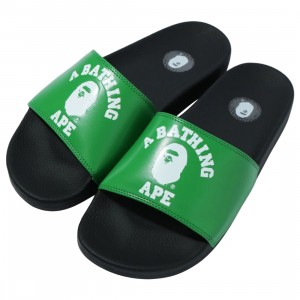 A Bathing Ape Men College Slide Sandals (green)