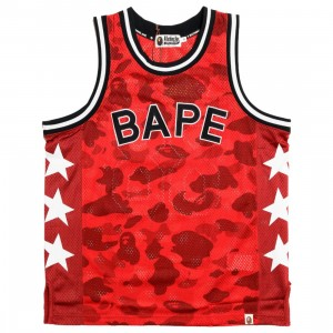 A Bathing Ape Men Color Camo Bape Basketball Tank Top (red)