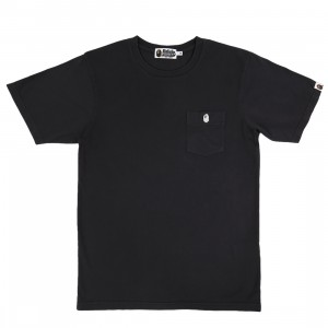 A Bathing Ape Men One Point Pocket Overdye Tee (black)