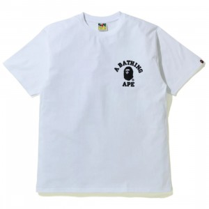 A Bathing Ape Men Silicon College One Point Tee (white)