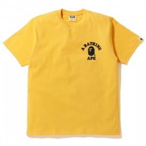A Bathing Ape Men Silicon College One Point Tee (yellow)