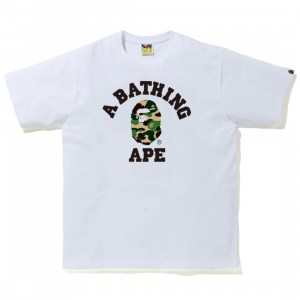 A Bathing Ape Men ABC Camo College Tee (white / green)
