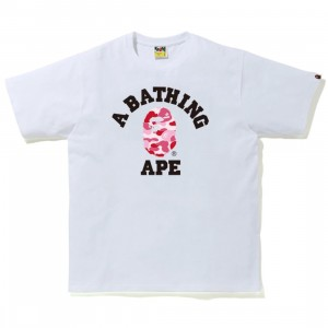 A Bathing Ape Men ABC Camo College Tee (white / pink)