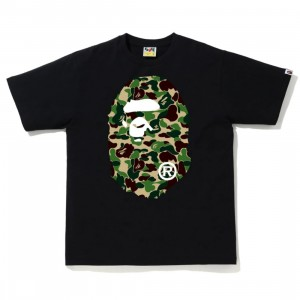 A Bathing Ape Men ABC Camo Big Ape Head Tee (black / green)