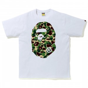 A Bathing Ape Men ABC Camo Big Ape Head Tee (white / green)