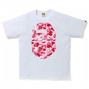A Bathing Ape Men ABC Camo Big Ape Head Tee (white / pink)