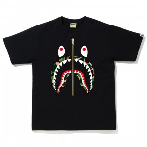 A Bathing Ape Men ABC Camo Shark Tee (black / green)
